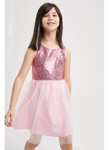 DeFacto Kız Çocuk Payetli Kolsuz Tül Elbise Pembe